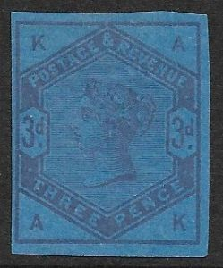 SG191var  Imperf Colour Trial in Purple on Deep Blue Unwatermarked Paper  MOUNTED Mint